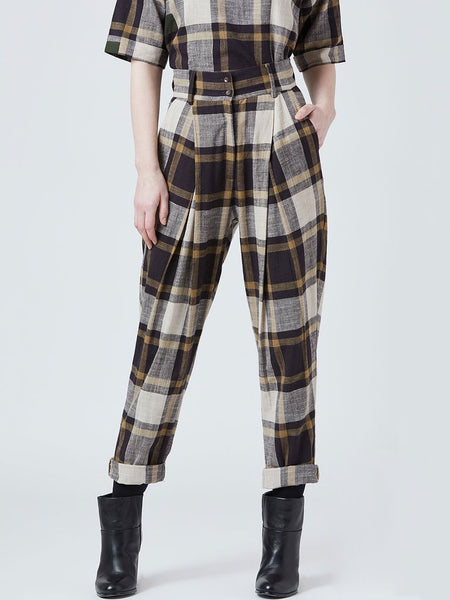 Plaid Pleated Pants - SKIRTS & TROUSERS - IKKIVI - Shop Sustainable & Ethical Fashion