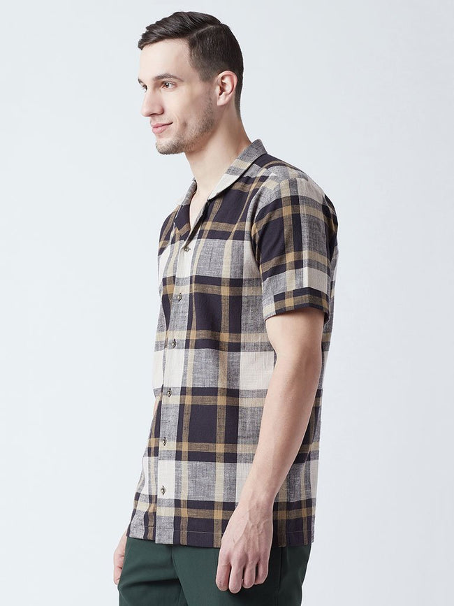 Short sleeve Black and Brown plaid print Shirt side - SHIRTS - IKKIVI - Shop Sustainable & Ethical Fashion