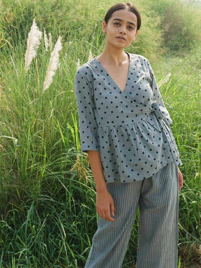 Polka Wrap Top - TOPS - IKKIVI - Shop Sustainable & Ethical Fashion