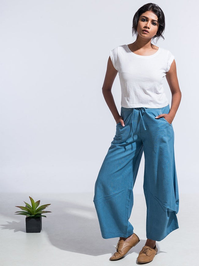Azur Pants Blue - SKIRTS & TROUSERS - IKKIVI - Shop Sustainable & Ethical Fashion