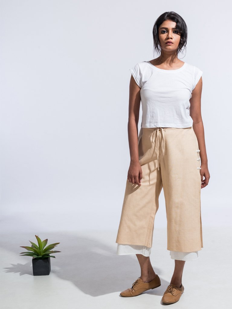 Brown Sustainable 4 ply khadi ana capri pants image 1