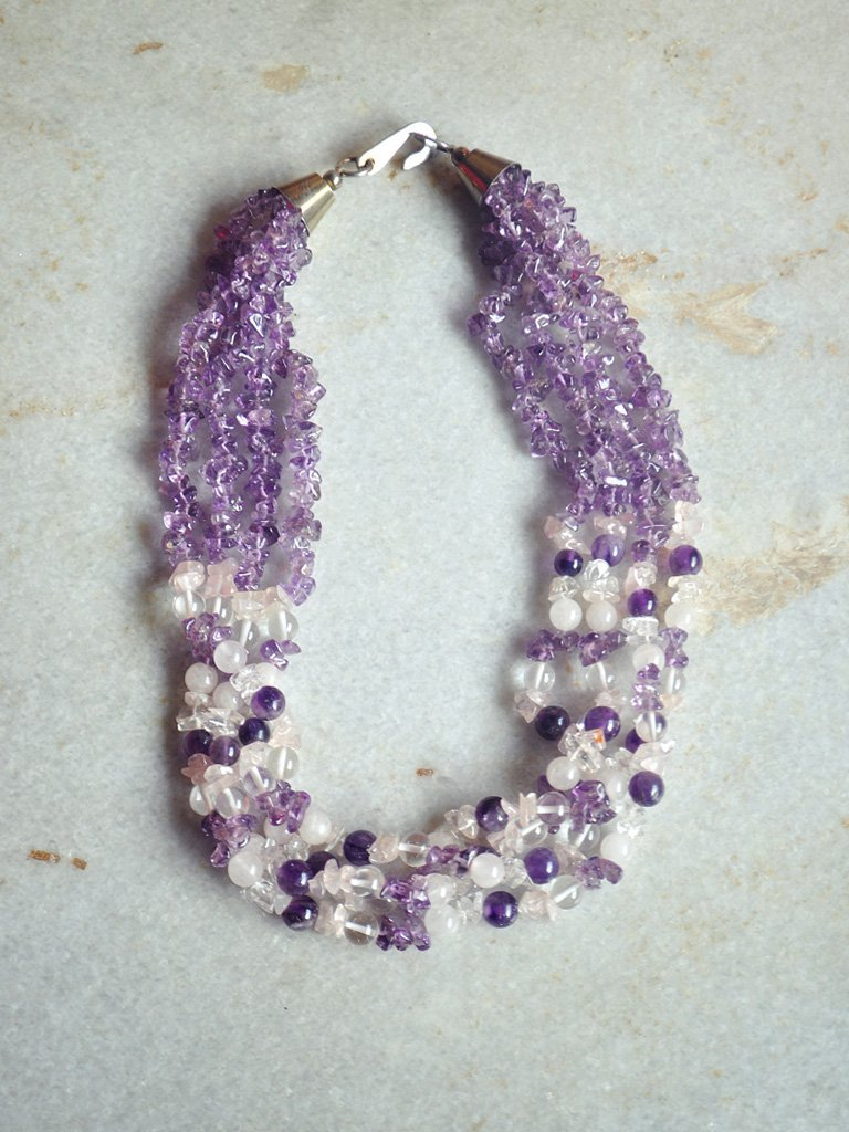 Rose Quartz & Amethyst Necklace - Jewellery - IKKIVI - Shop Sustainable & Ethical Fashion