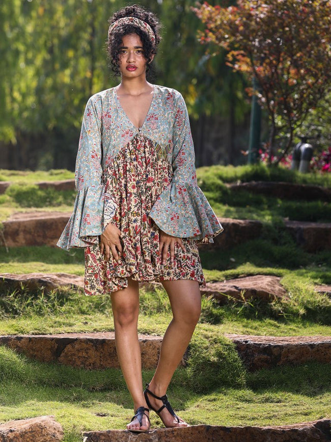Mixed Floral Prints Ruffle Sleeve Short Dress - DRESSES - IKKIVI - Shop Sustainable & Ethical Fashion