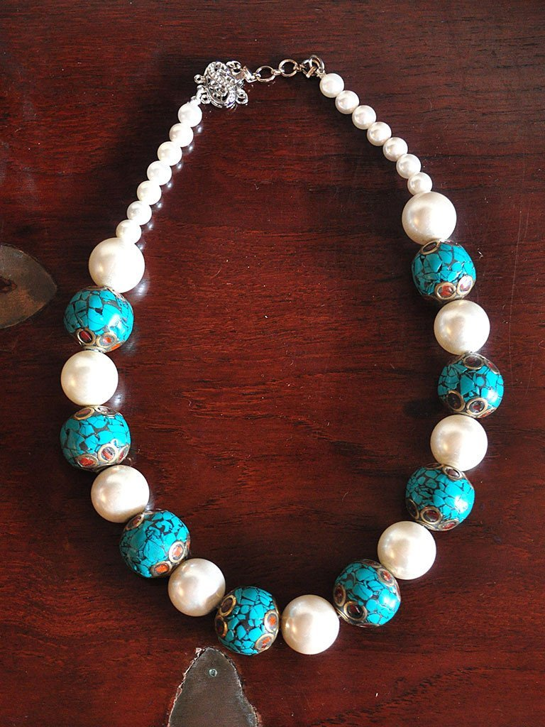 Pearl and Turquoise - Jewellery - IKKIVI - Shop Sustainable & Ethical Fashion