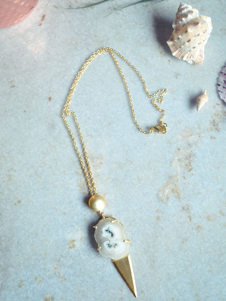 Agate & Brass Necklace