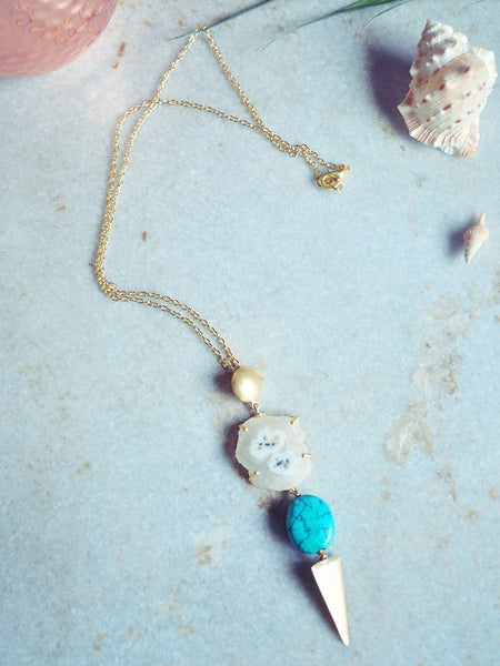 Agate, Turquoise & Brass Necklace