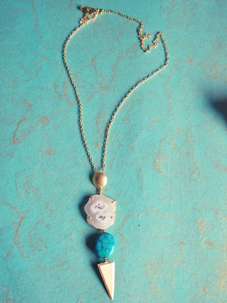 Agate, Turquoise & Brass Necklace detail