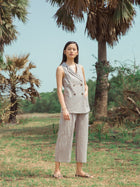 Sustainable handloom cotton blazer and pant set