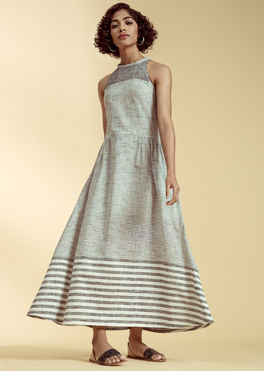 Ines Grey And White Stripes Dress front