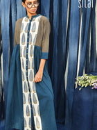 blue and white sustainable cotton leaf panel dress image 4