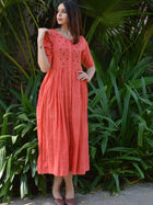 Peach V Neck Dress
