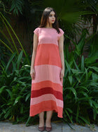 pink sustainable khadi cotton blocked maxi with shoulder sleeves image