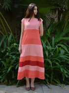 pink sustainable khadi cotton blocked maxi with shoulder sleeves image 2
