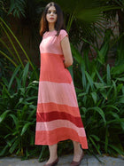 pink sustainable khadi cotton blocked maxi with shoulder sleeves image 3