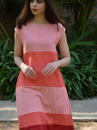 pink sustainable khadi cotton blocked maxi with shoulder sleeves image 4
