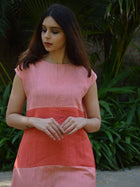 pink sustainable khadi cotton blocked maxi with shoulder sleeves image 5