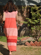pink sustainable khadi cotton blocked maxi with shoulder sleeves image 6