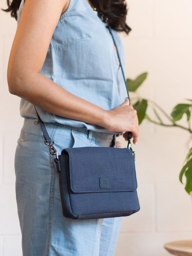Yarra Multi-Use Blue Sling - BAGS - IKKIVI - Shop Sustainable & Ethical Fashion