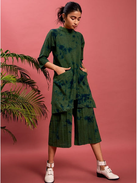 green handspun cotton khadi Accordion Pleated Culottes image