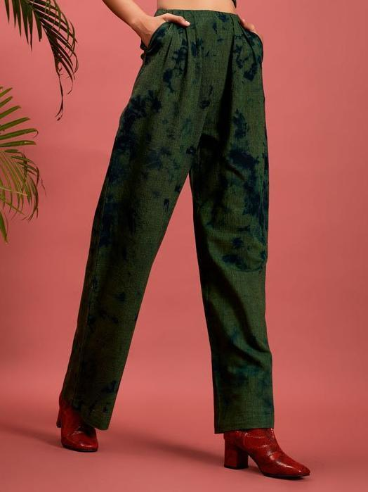 green handspun khadi cotton Pleated Wide Leg Trousers image  2