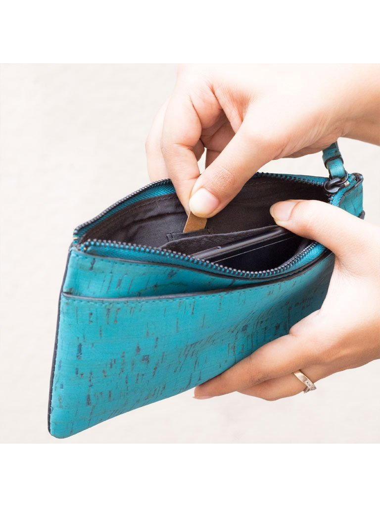 Slim Kim Teal Wallet inside