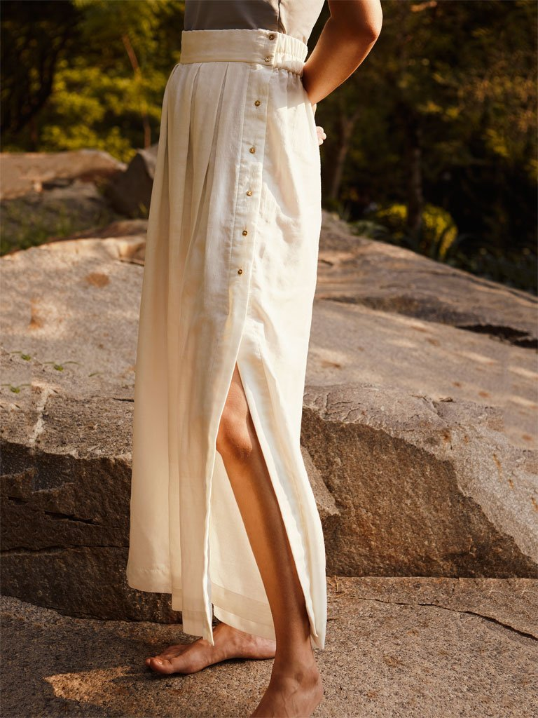 Ivory Side Slit Pants