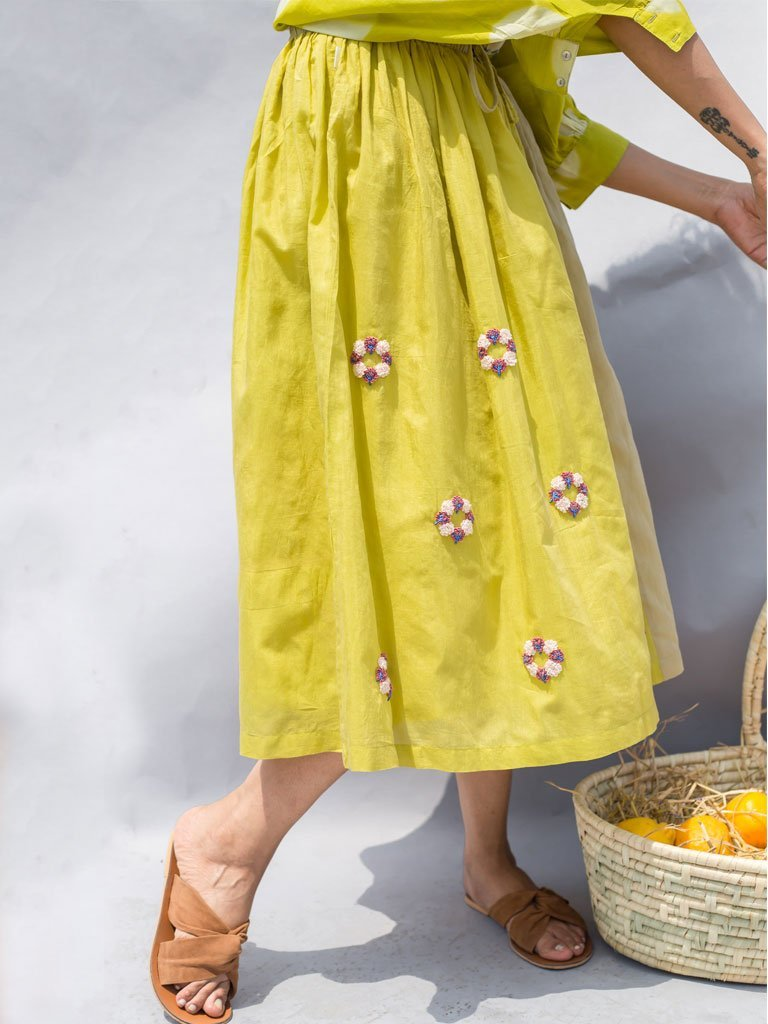 green sustainable Cotton silk Two Tone Embroidered Skirt image