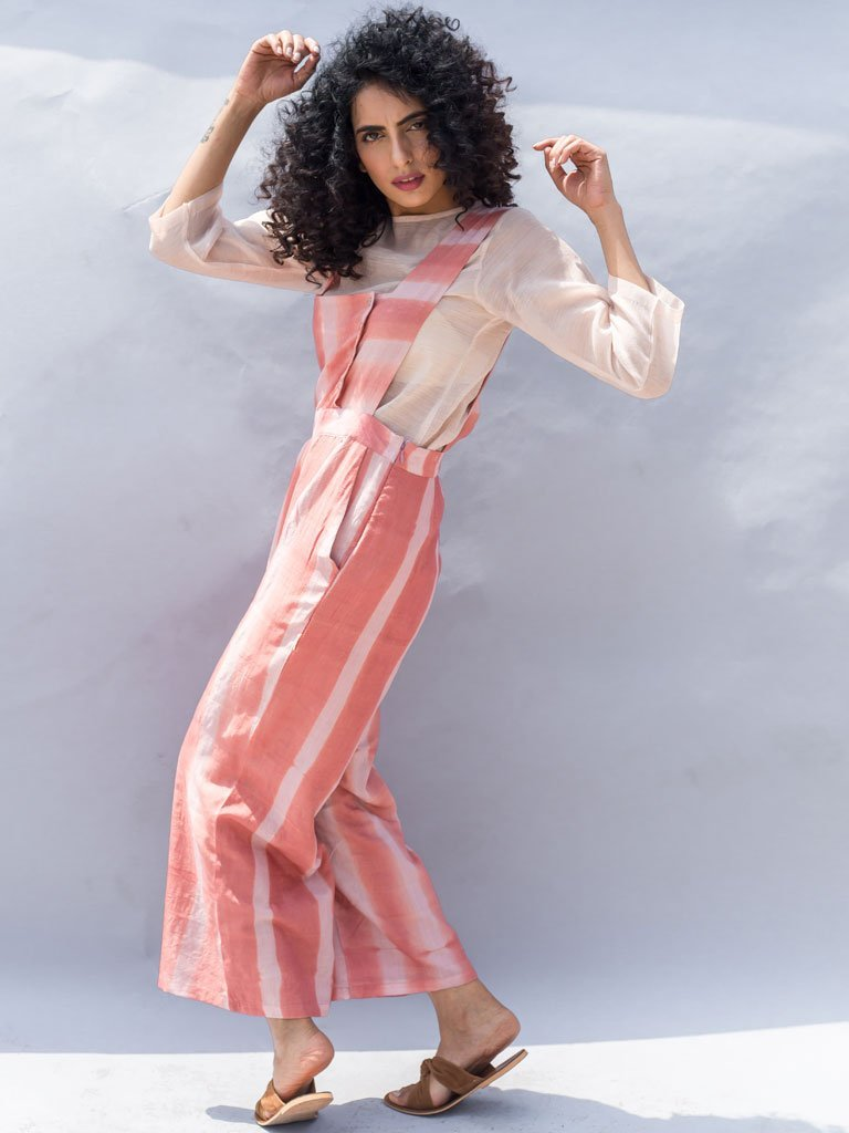 Sustainable light pink Clamp Dyed Stripes Jumpsuit image 2