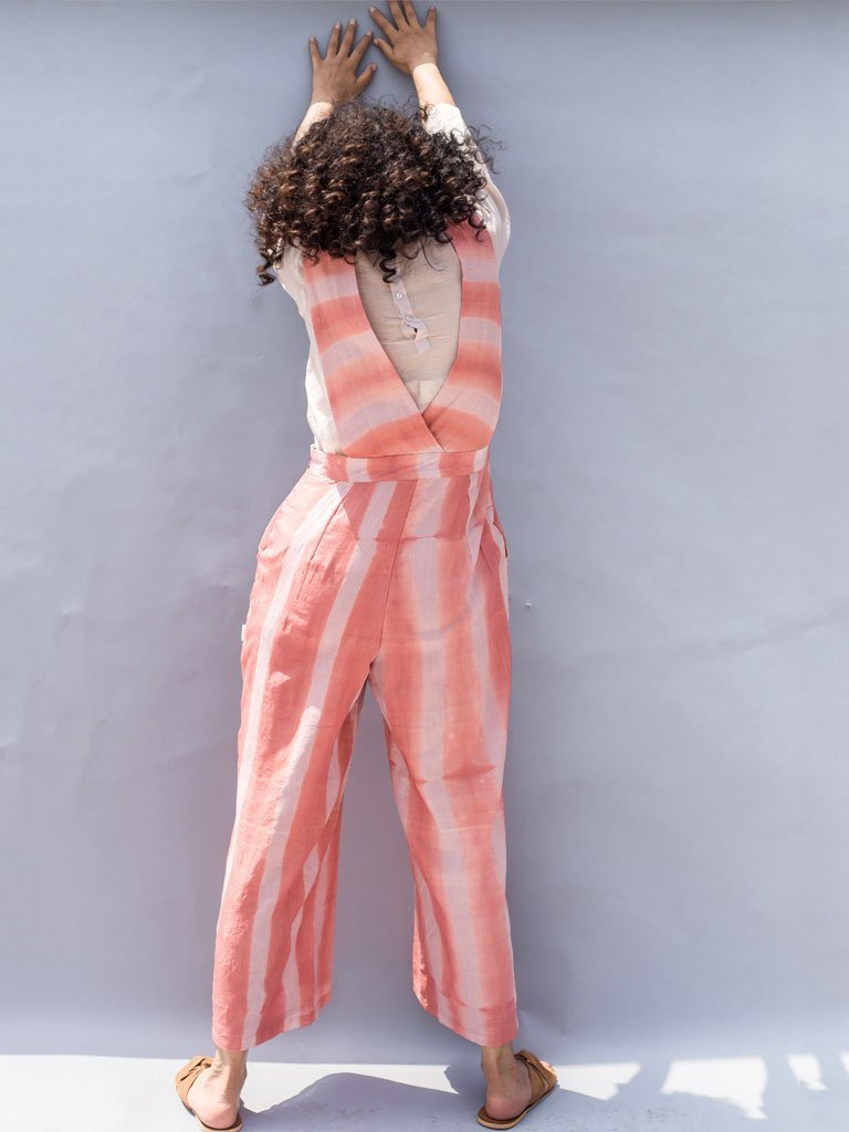 Sustainable light pink Clamp Dyed Stripes Jumpsuit image 3