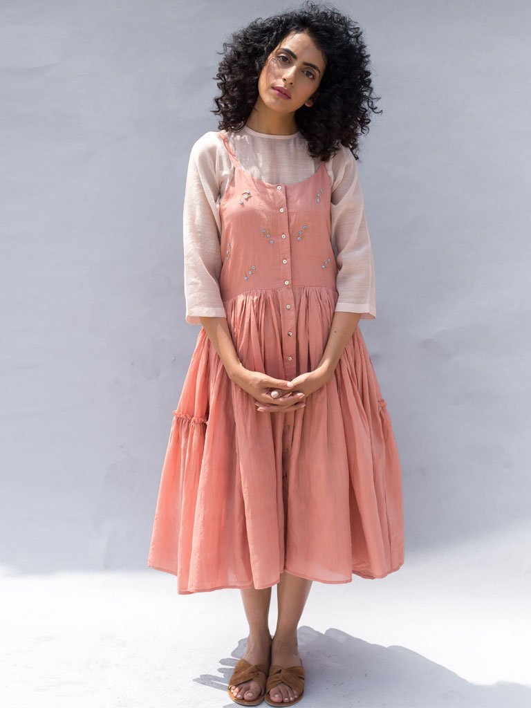 Sustainable cotton silk light pink Embroidered Gathered Strappy Dress image