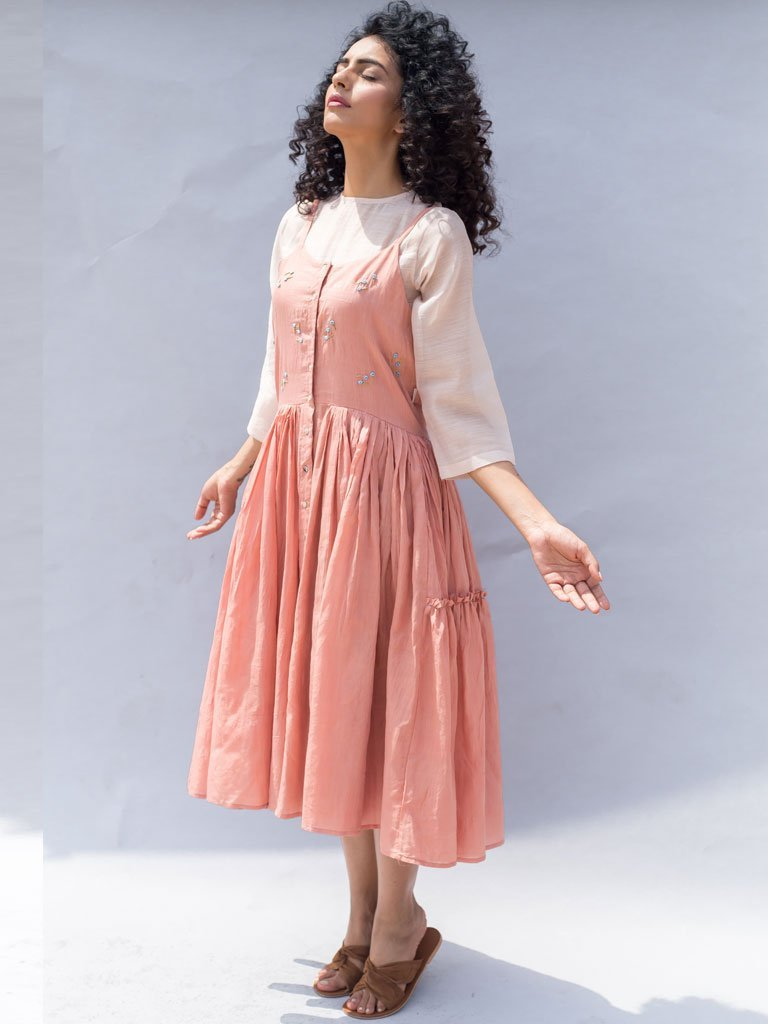 Sustainable cotton silk light pink Embroidered Gathered Strappy Dress image 2