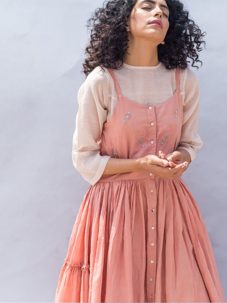 Sustainable cotton silk light pink Embroidered Gathered Strappy Dress image 3