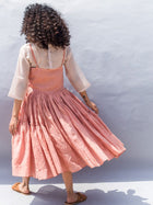Sustainable cotton silk light pink Embroidered Gathered Strappy Dress image 4