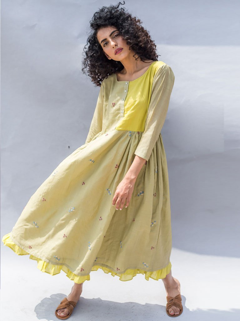 green sustainable cotton silk Floral Embroidered Maxi Dress image