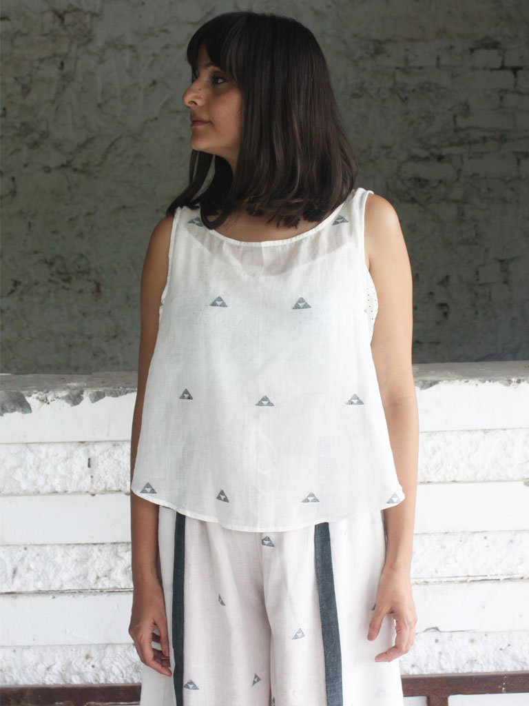 white sustainable pure cotton jamdani sleeveless side button top image