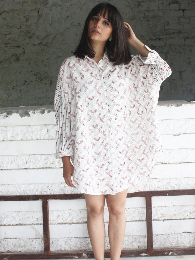 pink grey sustainable pure cotton leaf print boxy shirt image