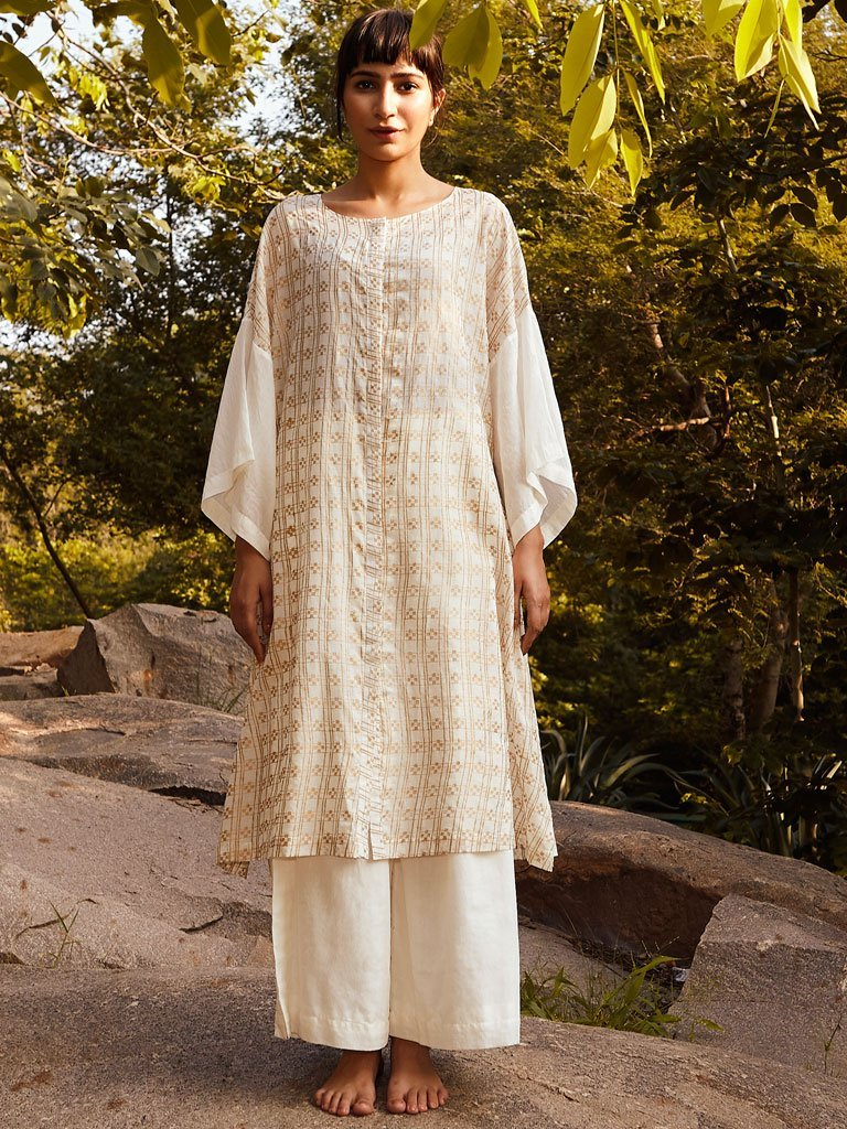 Ivory Gold Checkered Tunic