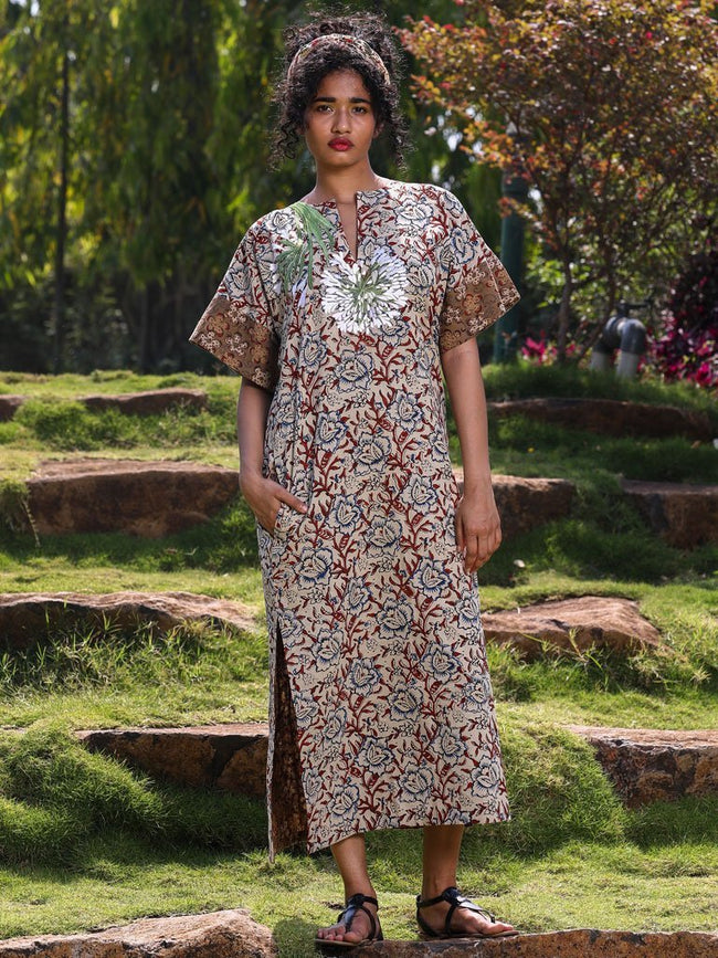 2 print mix Kaftan with a stand out jasmine embroidery detail  - DRESSES - IKKIVI - Shop Sustainable & Ethical Fashion