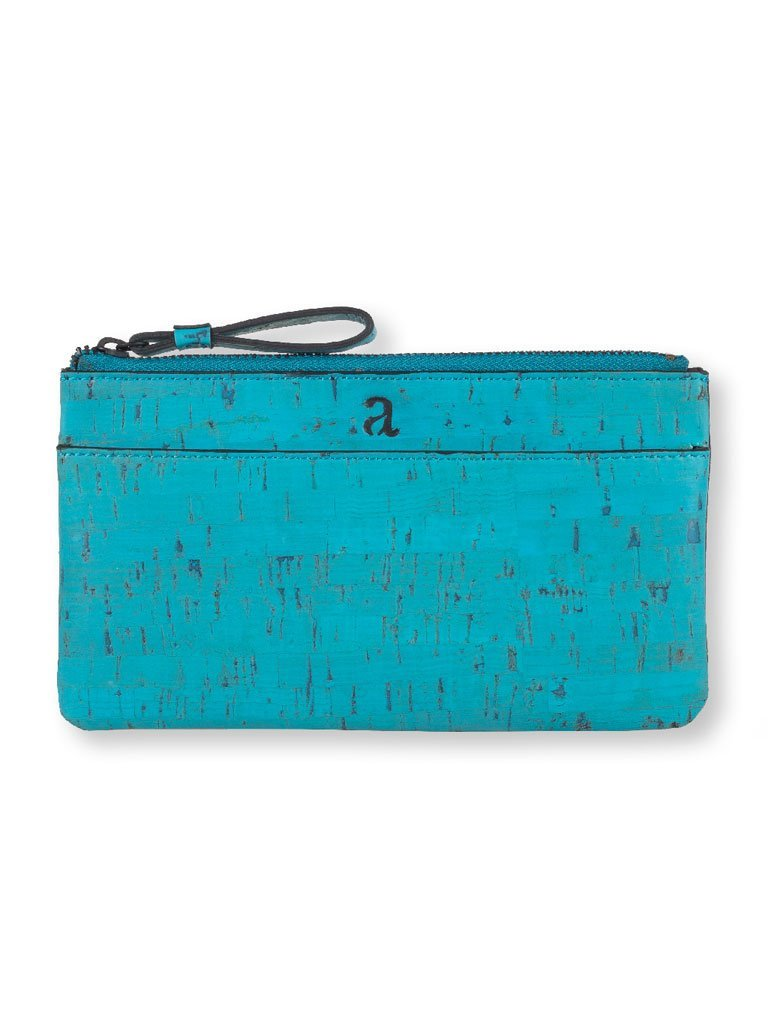 Slim Kim Teal Wallet front