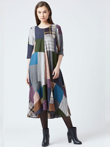 Quirky patchwork style patterned dress with slight line cut and a relaxed flare detail - DRESSES - IKKIVI - Shop Sustainable & Ethical Fashion