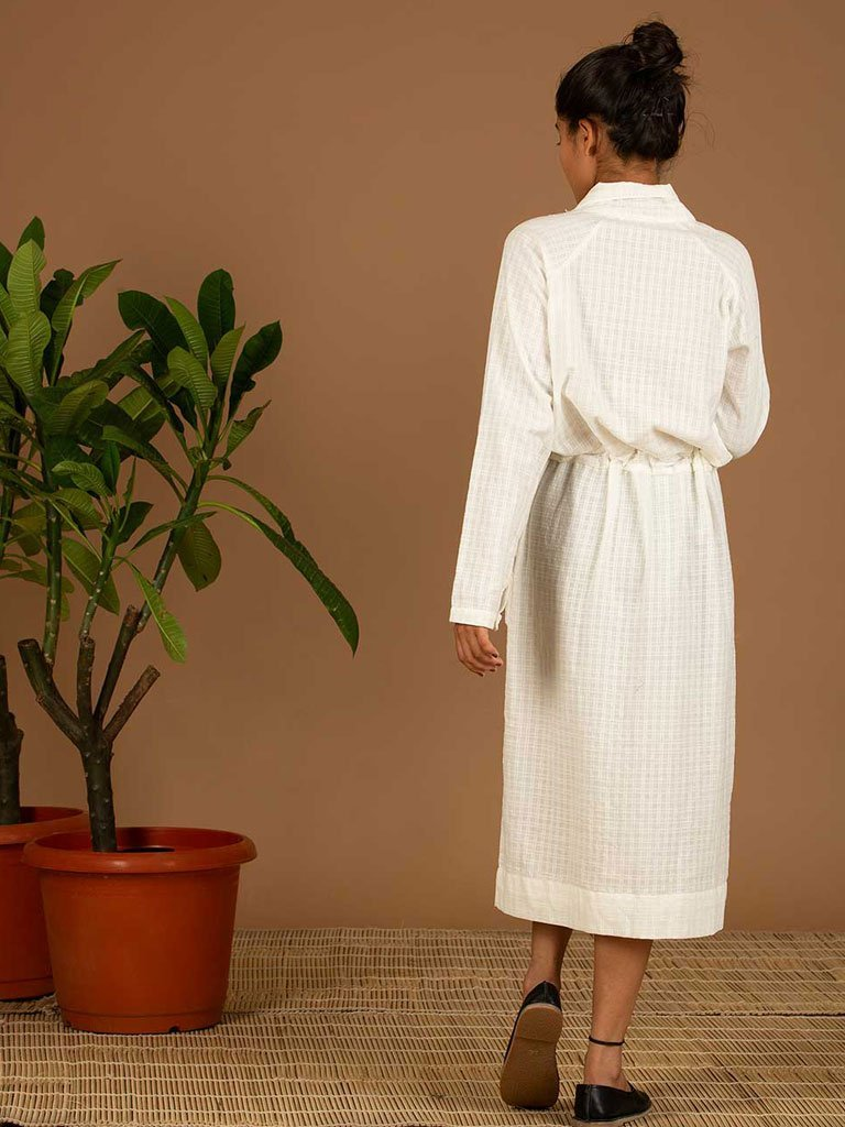 White Handloom Dress back
