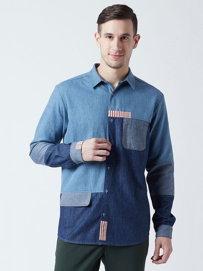 Rust stripe patch work denim shirt with faux front pocket - SHIRTS - IKKIVI - Shop Sustainable & Ethical Fashion