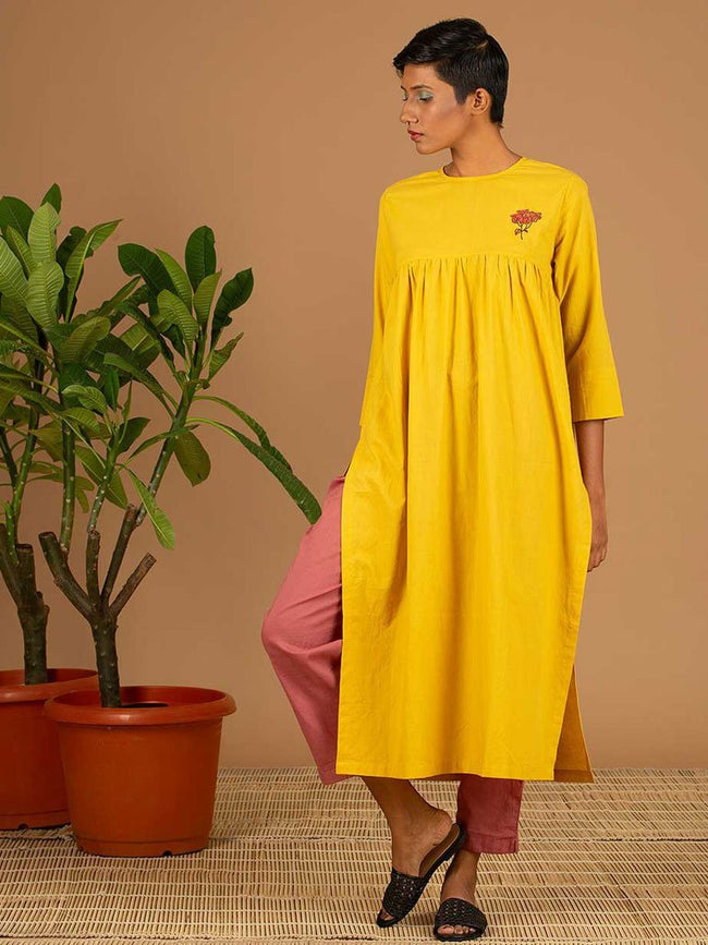 Yellow Kurta - DRESSES - IKKIVI - Shop Sustainable & Ethical Fashion