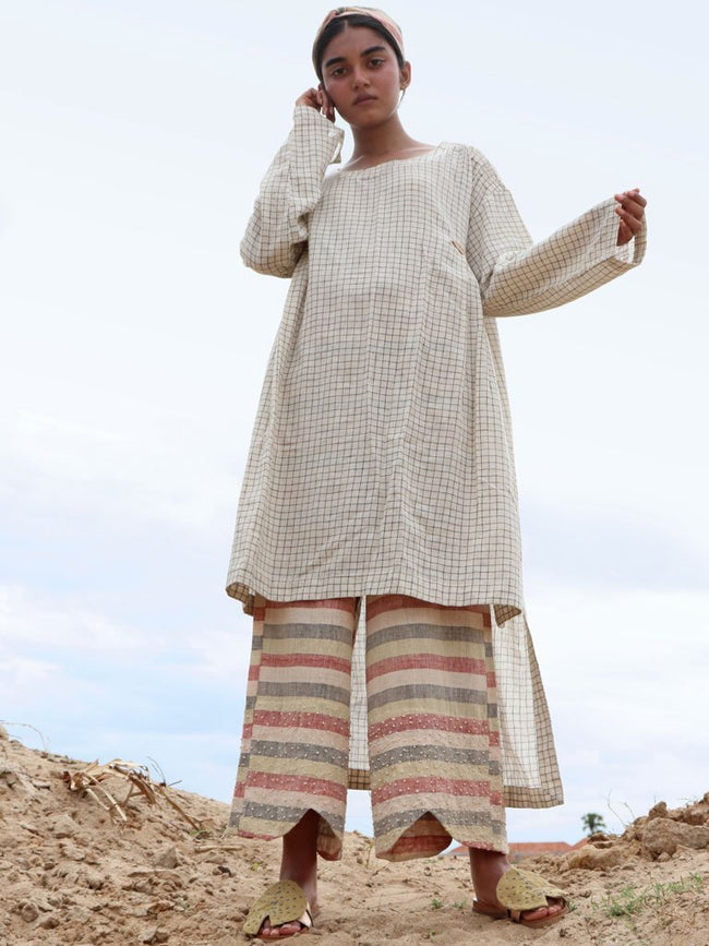 Kala cotton Asymmetrical tunic with side pleat details - SKIRTS & TROUSERS - IKKIVI - Shop Sustainable & Ethical Fashion