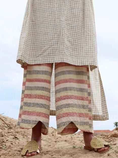 Handwoven with Kala cotton multi color striped trouser - SKIRTS & TROUSERS - IKKIVI - Shop Sustainable & Ethical Fashion