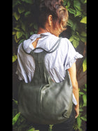 moss green sustainable leather tang backpack image 2