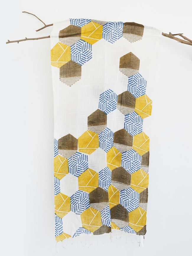 Honey Bee Puzzle Scarf - ACCESSORIES - IKKIVI - Shop Sustainable & Ethical Fashion