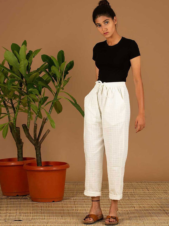 White Check Pants - SKIRTS & TROUSERS - IKKIVI - Shop Sustainable & Ethical Fashion