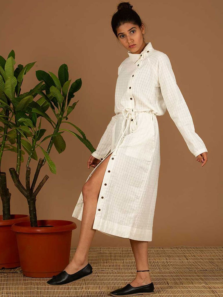 White Handloom Dress front