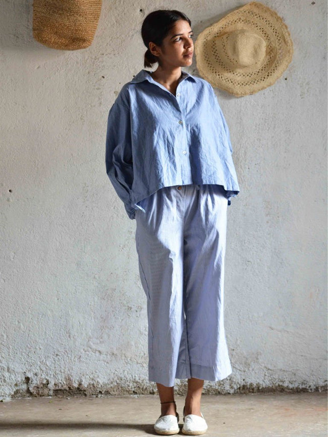 Blue chambray button down shirt with detailing along the back - TOPS - IKKIVI - Shop Sustainable & Ethical Fashion
